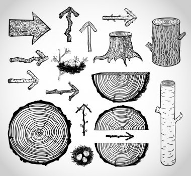 Sketches of wood cuts