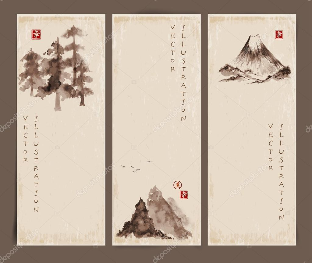 Banners with pine trees and mountains