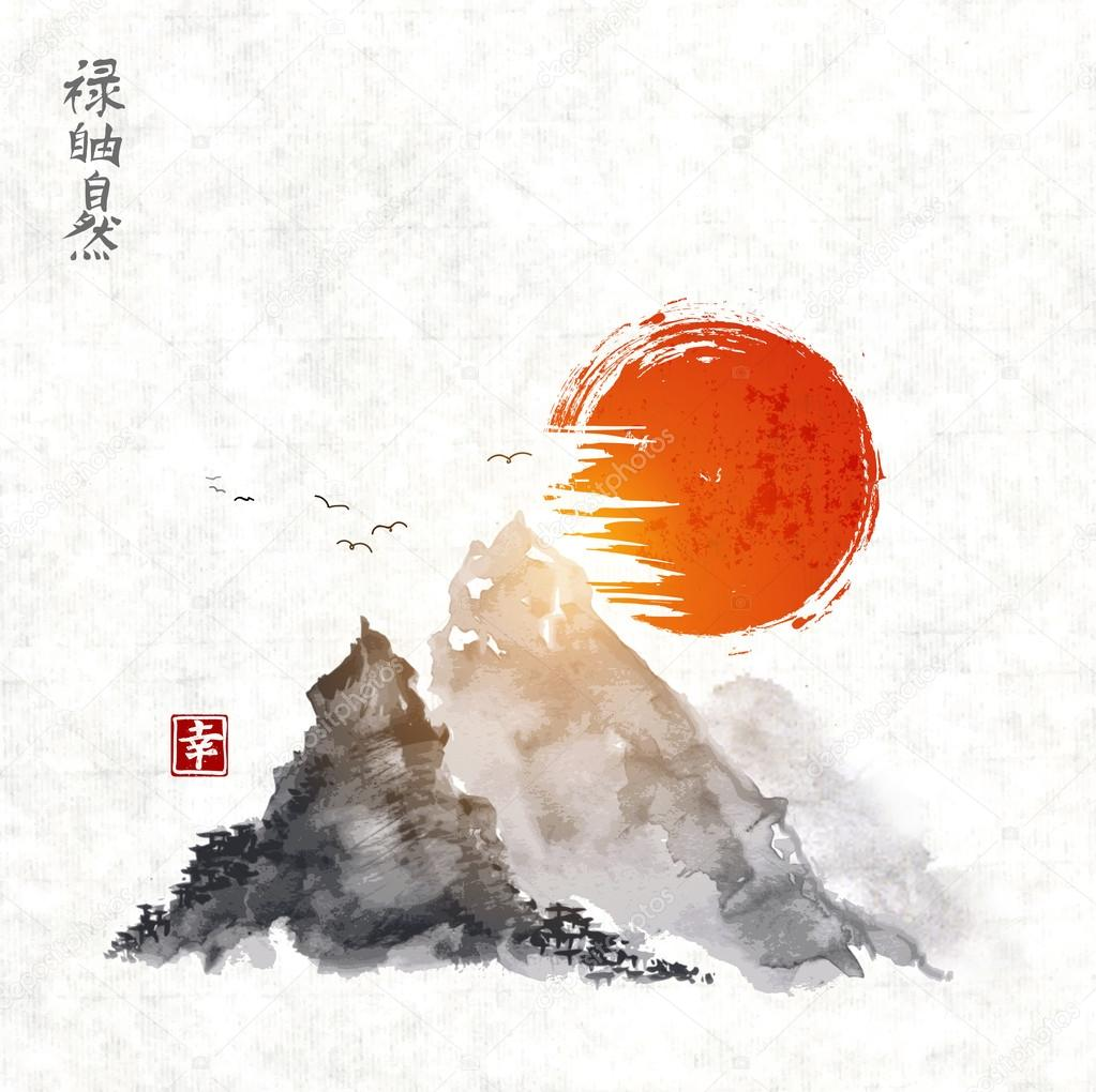 Mountains and red sun