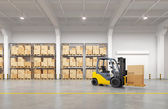 Photo Forklift truck in warehouse. 3d illustration.