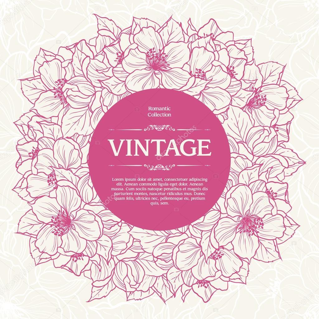 Vintage ornamental frame floral background design.