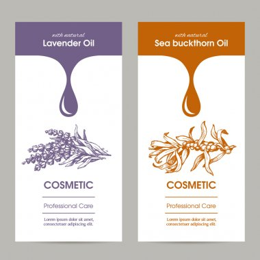 Vector set packaging design for cosmetic with sketch illustration of lavender an