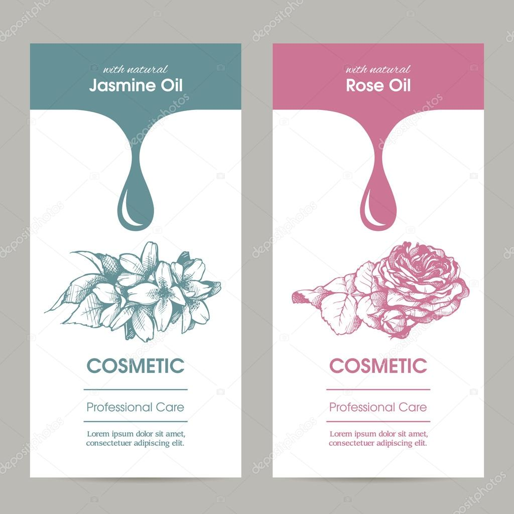 Vector set packaging design for cosmetic with sketch illustration ...