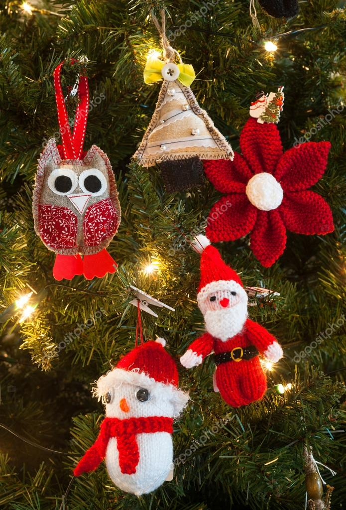 Knitted christmas tree decorations — Stock Photo © gabriel11 #57689081