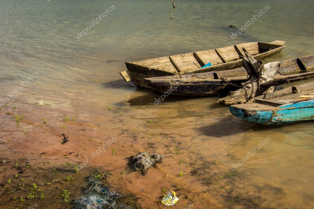 Old wooden fishing boats Asia  vintage style