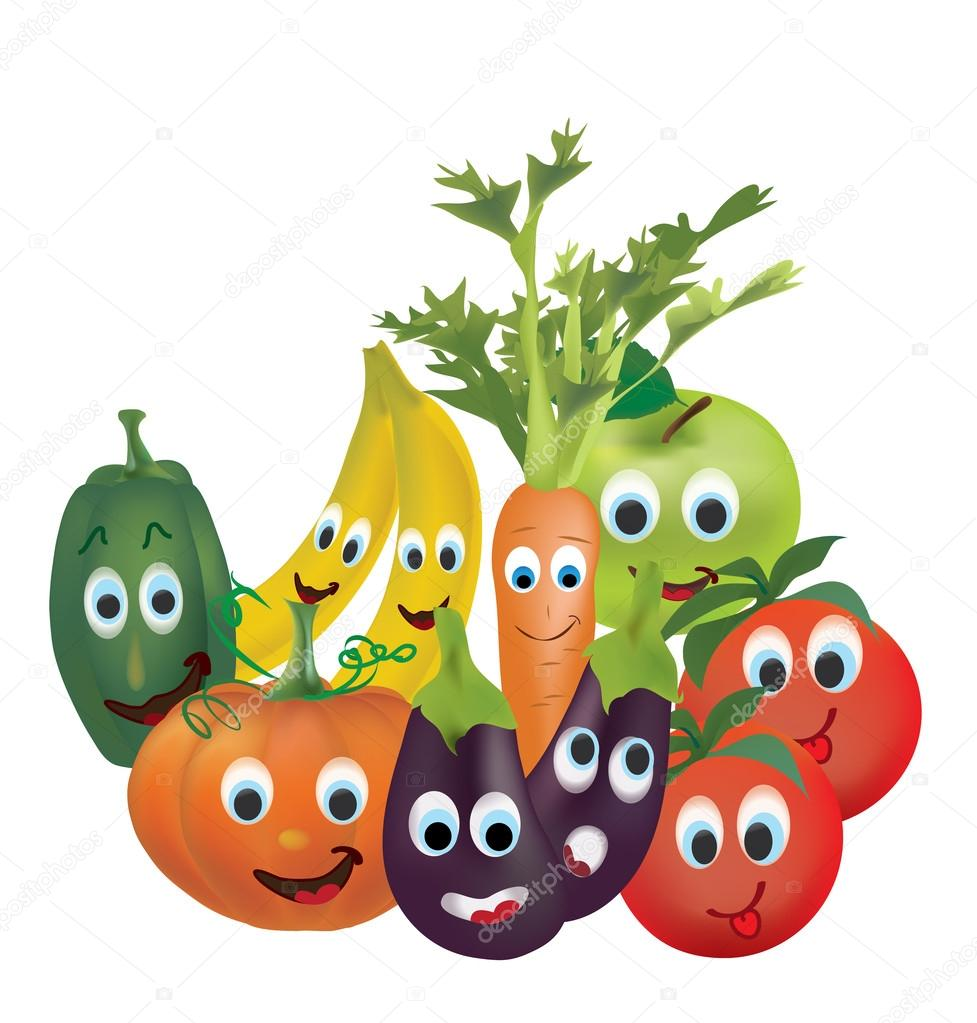 Illustration Collection of Animated Fruits and Vegetables Tomatoes, Peppers, Pumpkin, Eggplant,  Carrot, Banana and Apple Characters with Facial Expressions