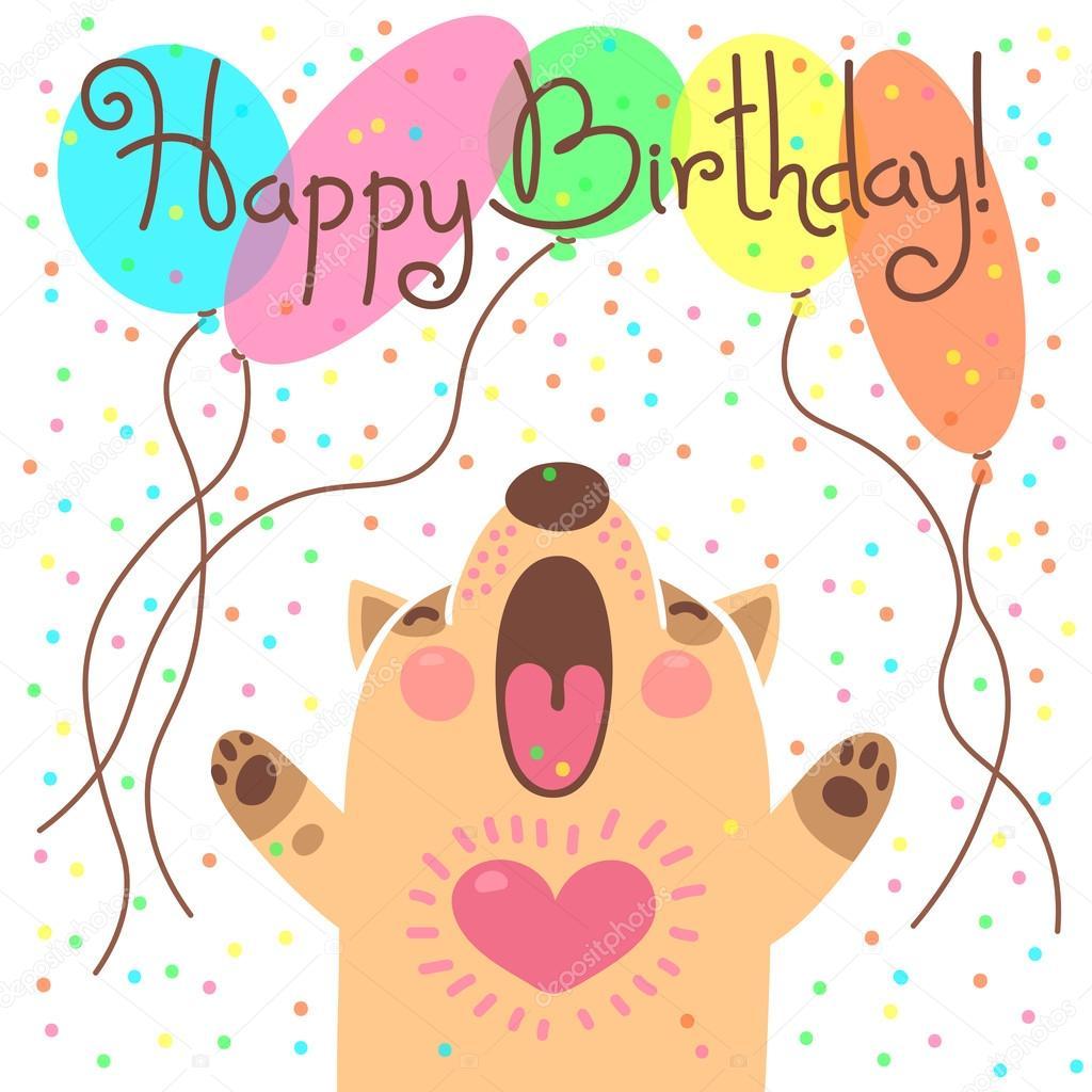 Scheda Sveglia Di Buon Compleanno Con Il Cucciolo Divertente