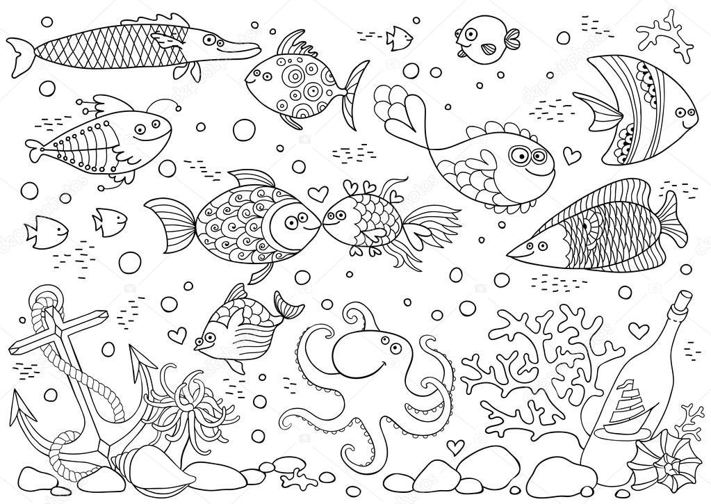 Färbung der Unterwasserwelt. Aquarium mit Fischen, Oktopus, Korallen ...