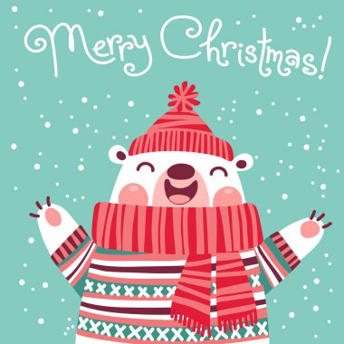 Christmas card with cute polar bear.
