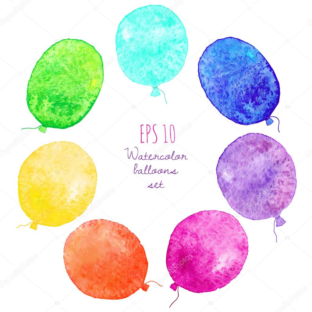Set of multicolored balloons. Painted in watercolor.