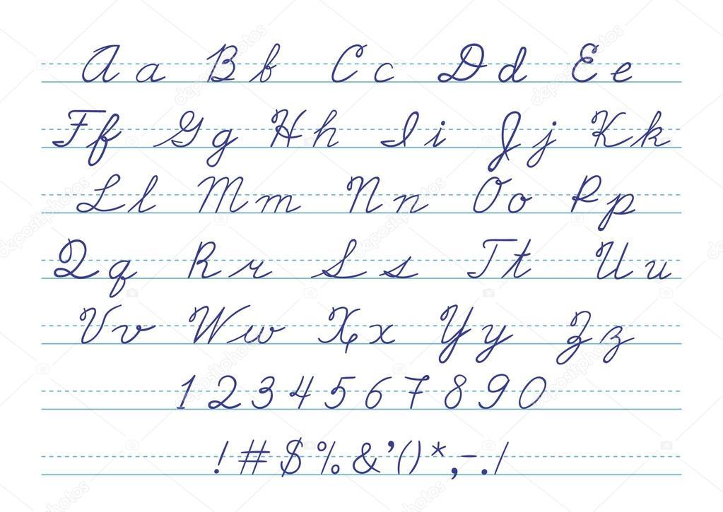 Stock Illustration Hand Drawn Uppercase Calligraphic Alphabet on Lowercase Alphabet Writing Practice V