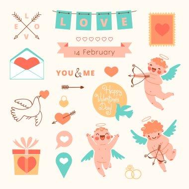 Valentines Day set of elements for design. Vector illustration. clip art vector