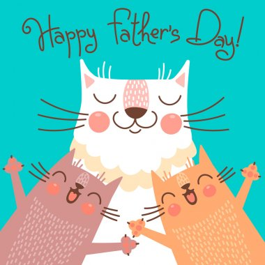 Sweet card for Fathers Day with cats. Vector illustration clip art vector