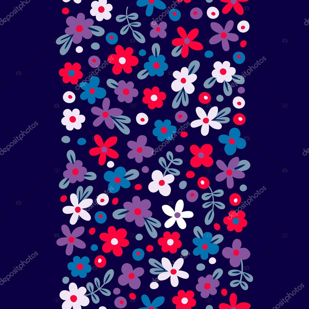 Seamless border with cute flowers.