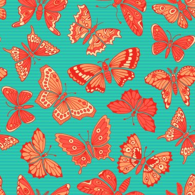 Seamless pattern with decorative butterflies. Vector illustration clip art vector