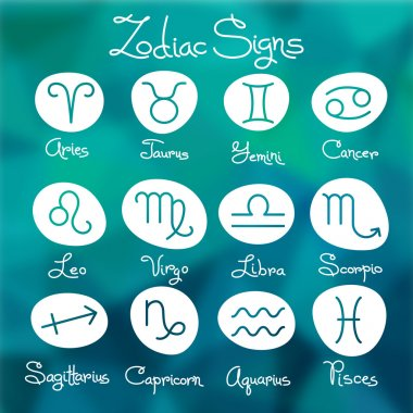 Set of simple zodiac signs with captions
