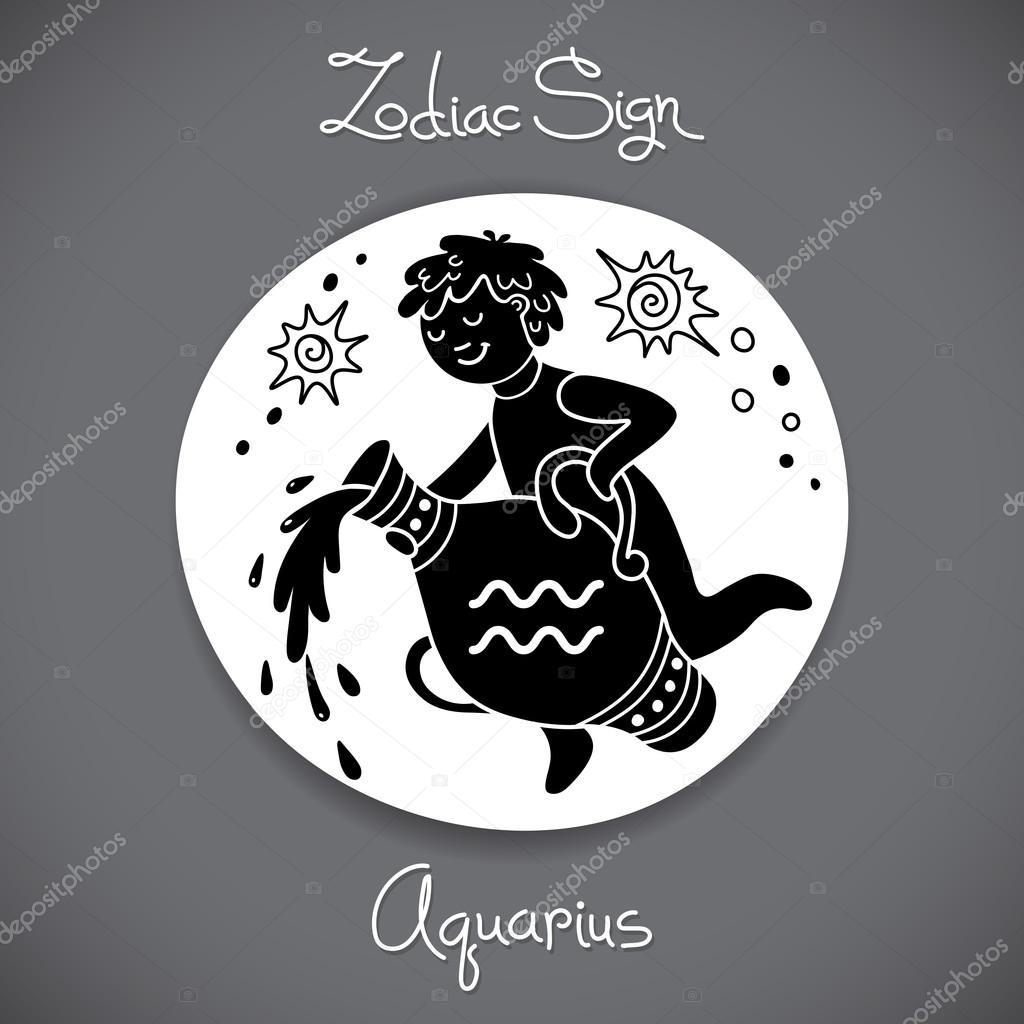 Signe Du Zodiaque Verseau D Embleme Cercle Horoscope Dans Le Style