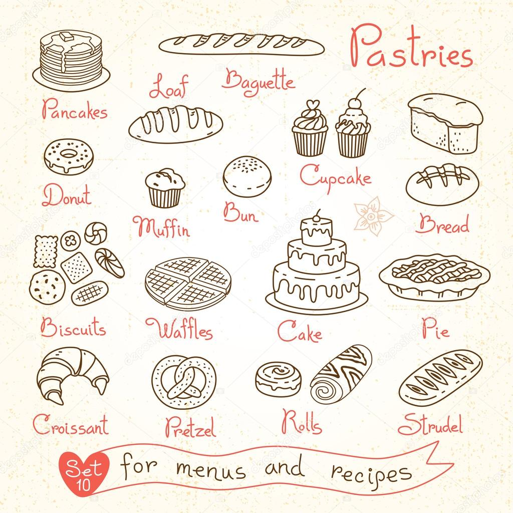 Set drawings of pastries and bread for design menus, recipes