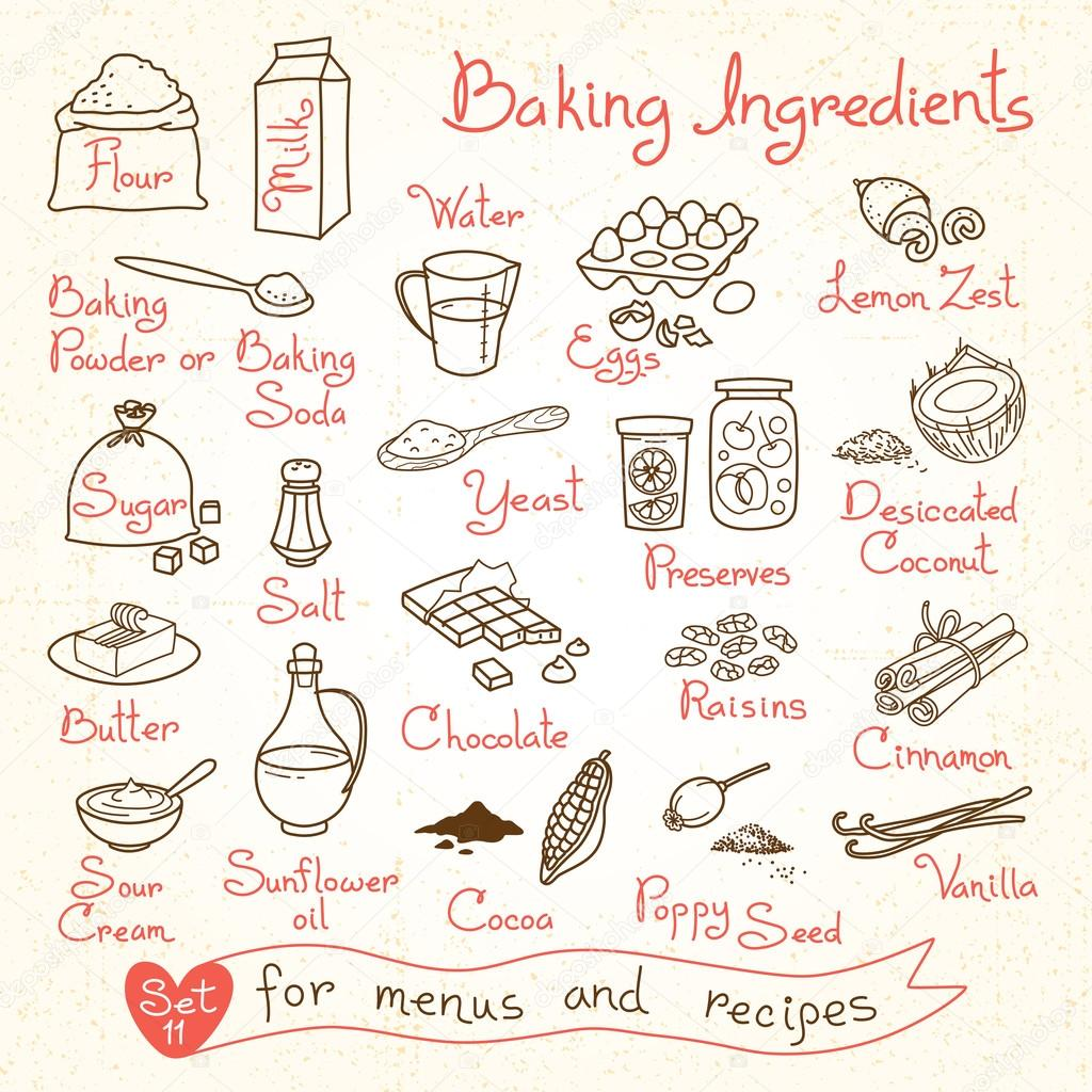 Set drawings of baking ingredients for design menus, recipes.
