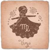 Fotografie Virgo zodiac sign horoscope vintage card.