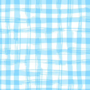 Vector seamless pattern with square hand drawn texture. Blue checkered tablecloth