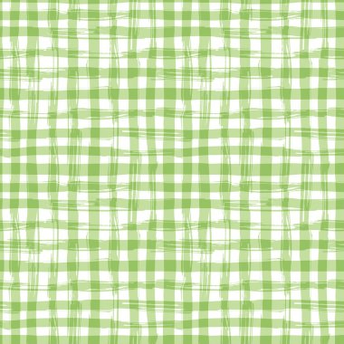 Vector seamless pattern with square hand drawn texture. Green checkered tablecloth