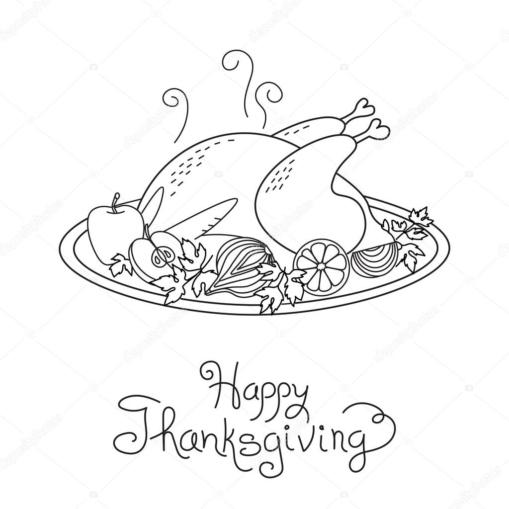 doodle thanksgiving turkey meal freehand vector drawing isolated