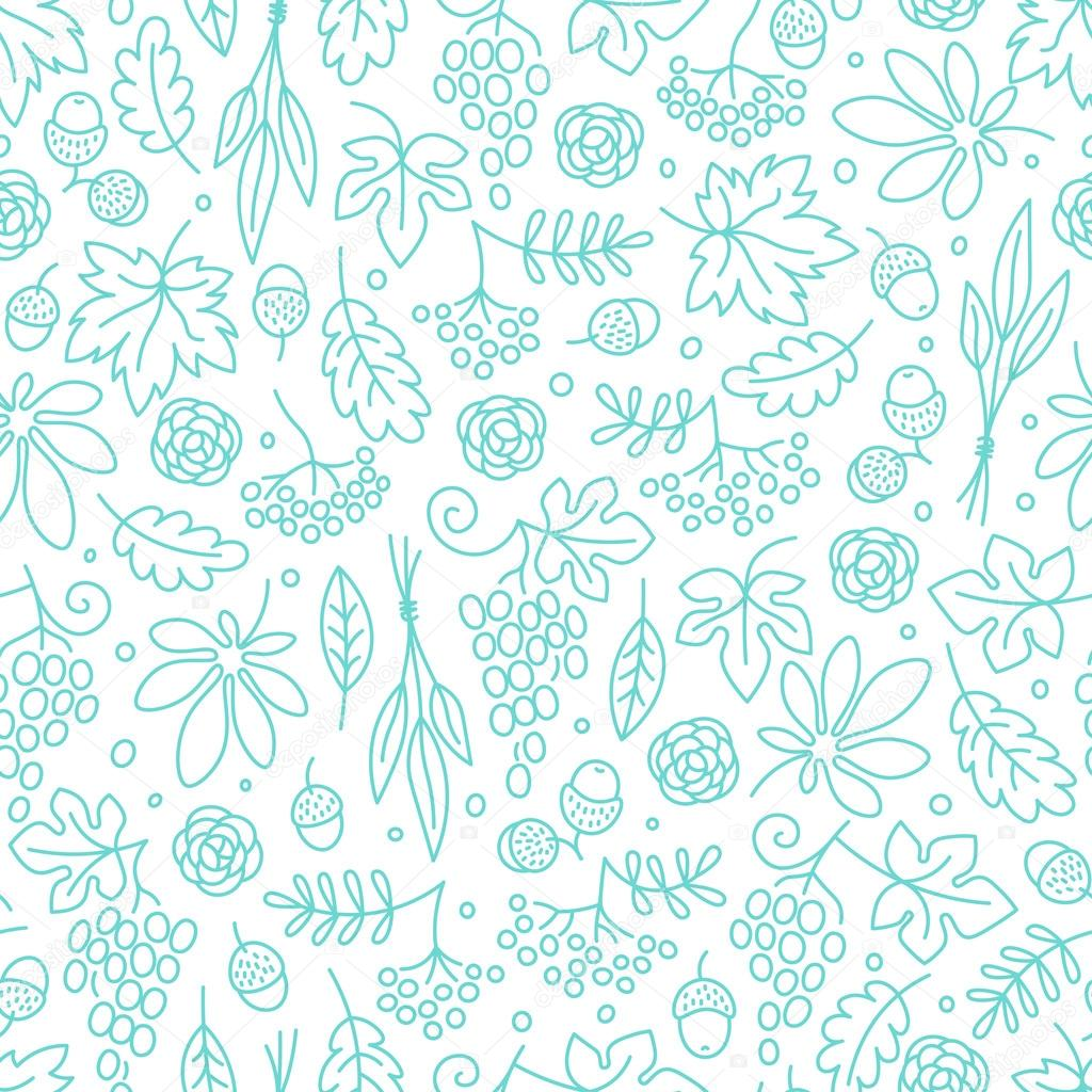 Seamless pattern with grapes, acorns, leaves and flowers. Beautiful background for Thanksgiving.