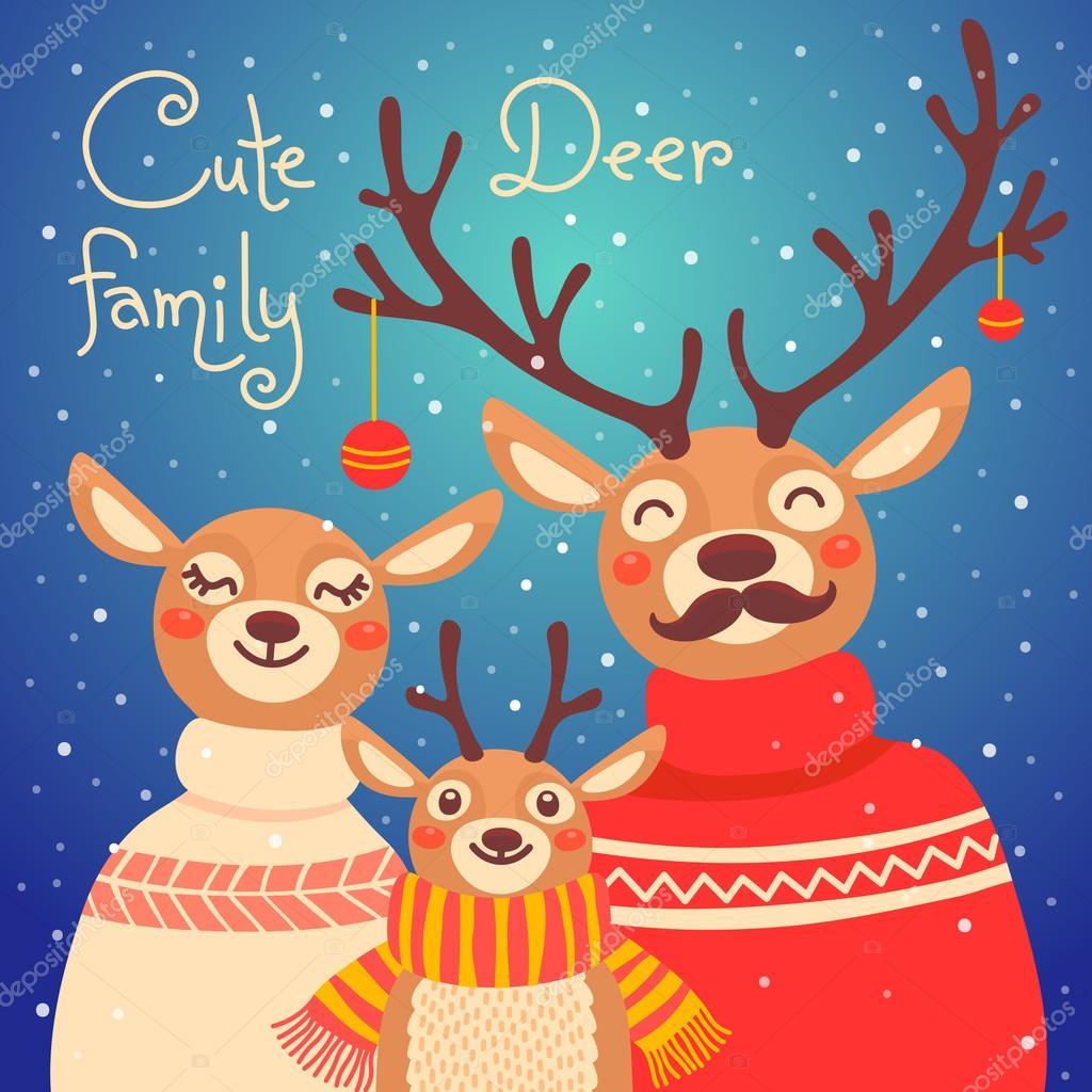 Familia de renos de Navidad Tarjeta linda con ciervos se viste de