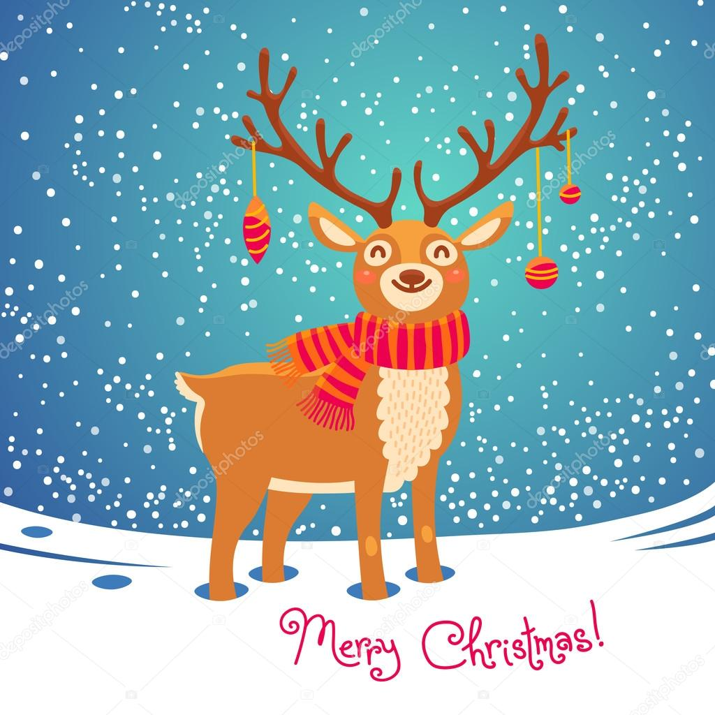 Christmas Card With Santa Reindeer Cute Cartoon Deer Scarf Merry Background Vector Illustration By Baksiabat