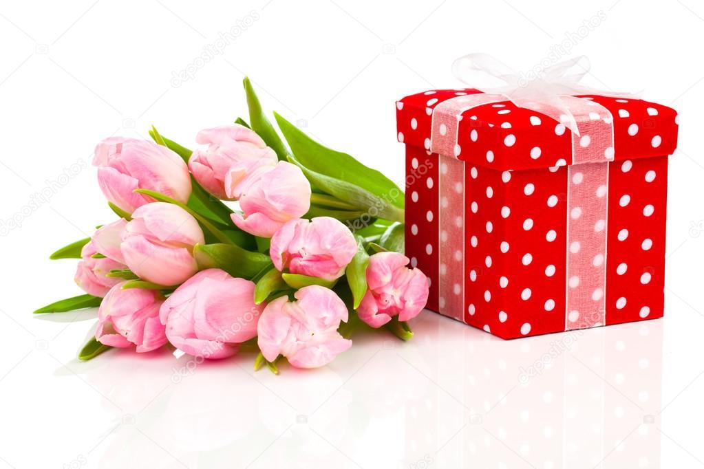 a6eddf7d80 Szép tulipán, piros pöttyös díszdobozban. Boldog anyák napja — Stock Fotó