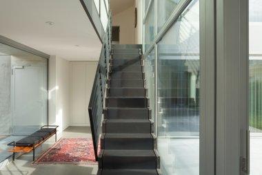 Interior, iron staircase of a modern house stock vector