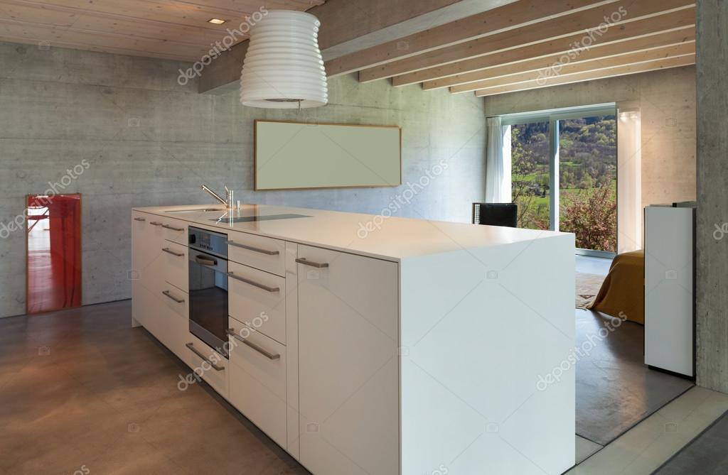 Interieur moderne küche insel u stockfoto zveiger