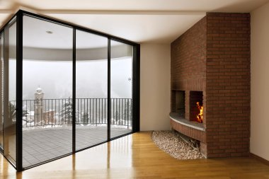 Beautiful apartment,  large window and fireplace