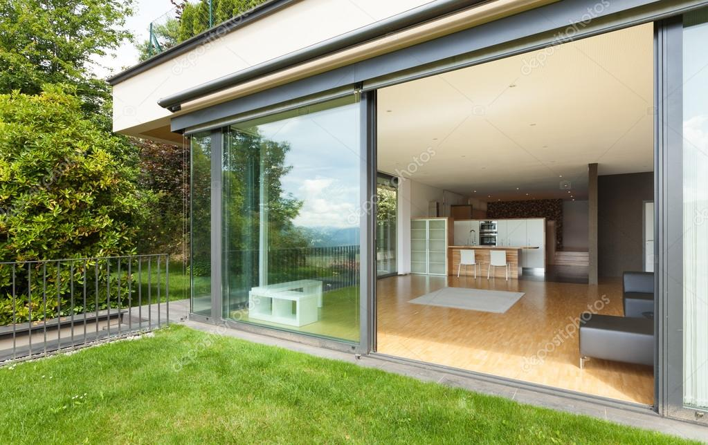 outdoor of a modern house, garden