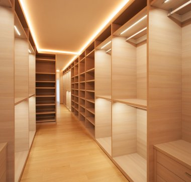 Elegant wooden walk-in closet ( mostly for women )