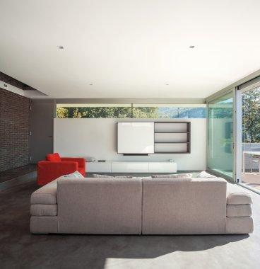 Interior design, modern apartment, living room view stock vector