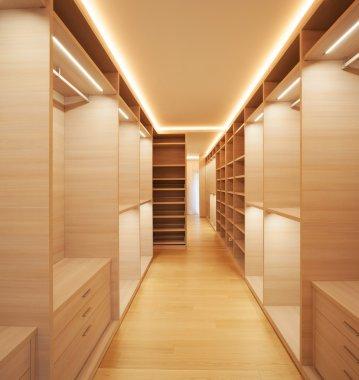Elegant wooden walk-in closet
