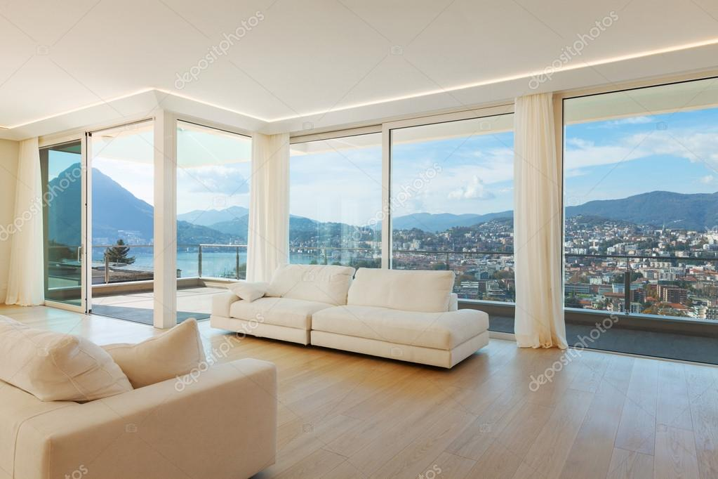 Salotto open space di lusso con paesaggio foto stock for Piani di lusso open space