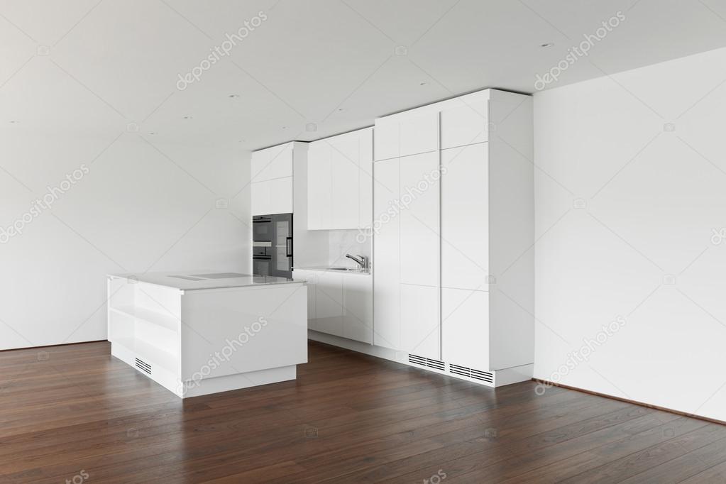 Mooie Witte Keuken : Mooie lege appartement witte keuken u2014 stockfoto © zveiger #61690663