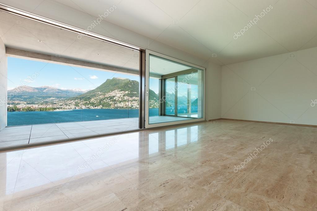 Interior, empty room with windows