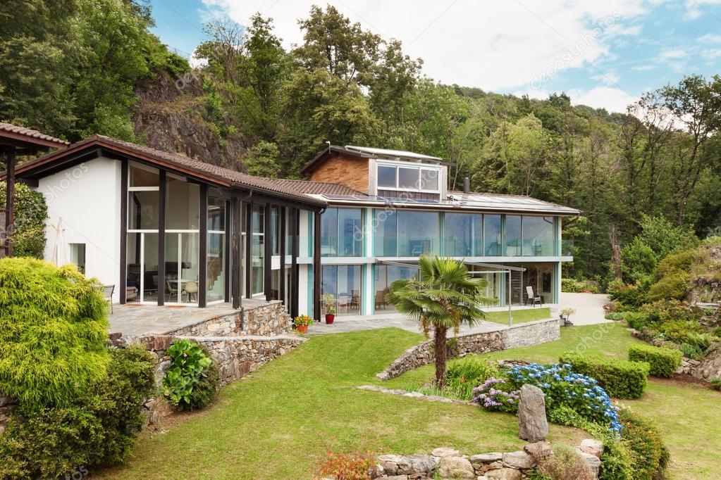 Modern house and beautiful garden view