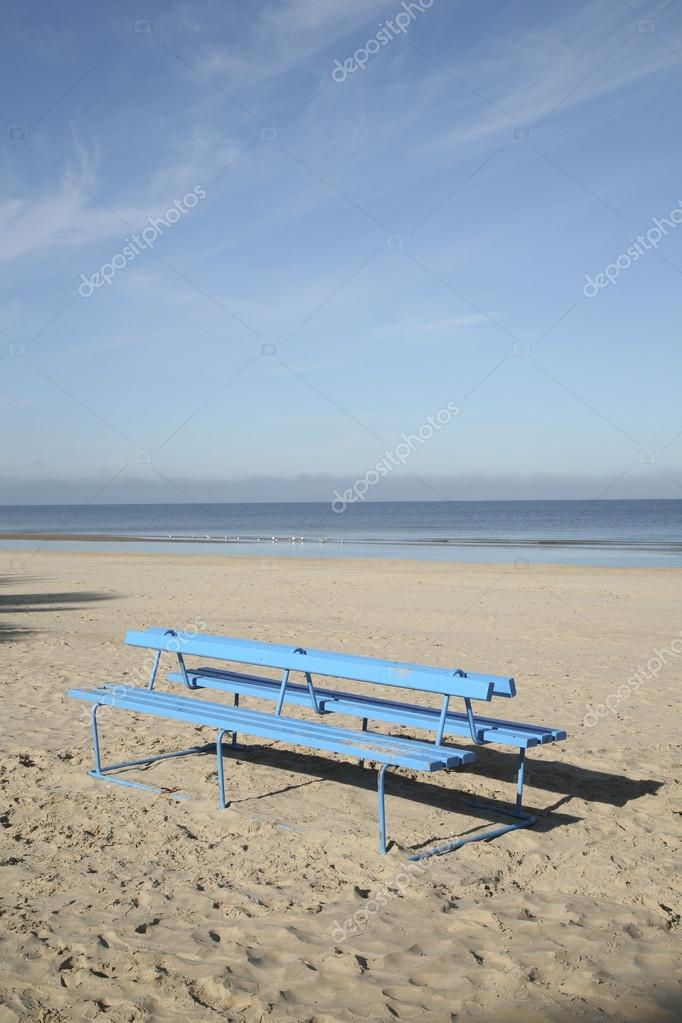 Bench on the beach by the sea