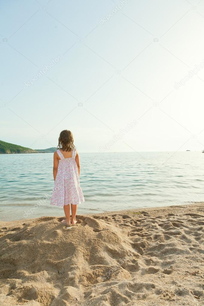 Young girl on a sea, relaxing