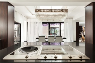 Beautiful kitchen of a luxury apartment