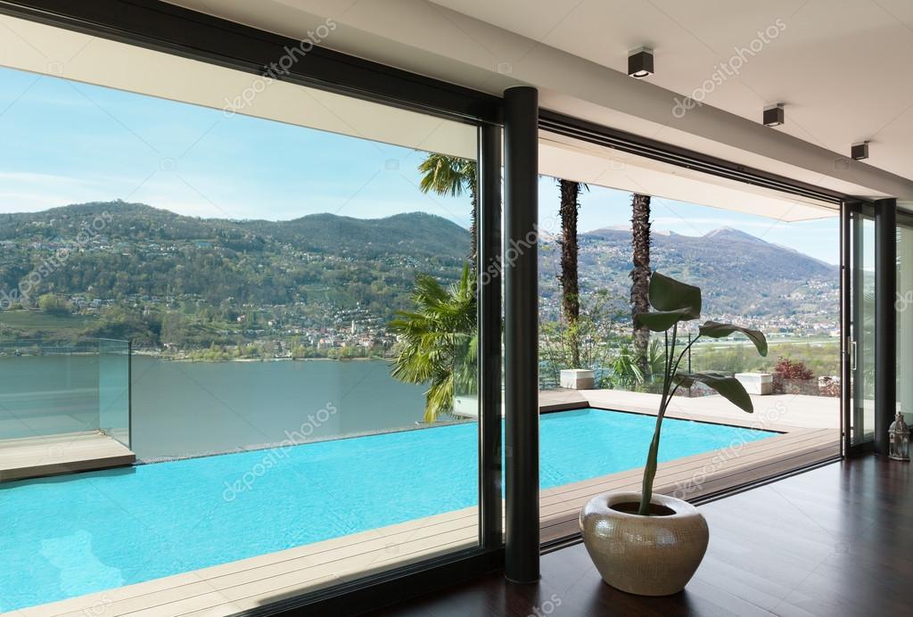 Architektur Modernes Haus Blick Auf Den Pool Vom Wohnzimmer Foto Von Zveiger