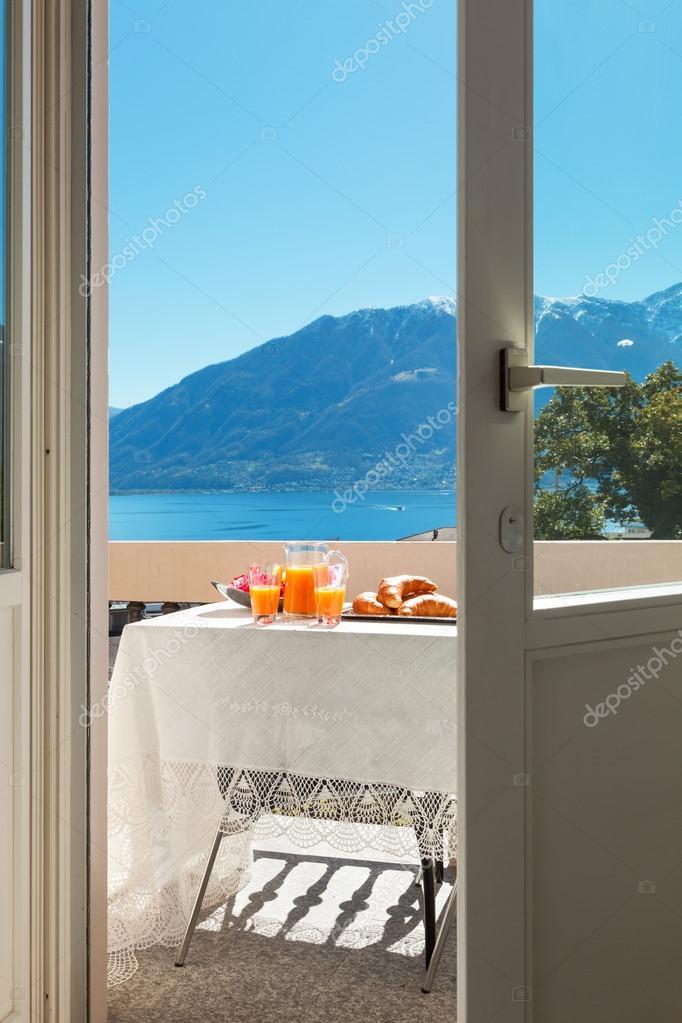 breakfast on the balcony, outdoors