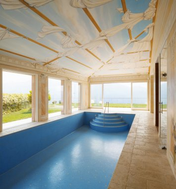 Interior villa, pool decorated