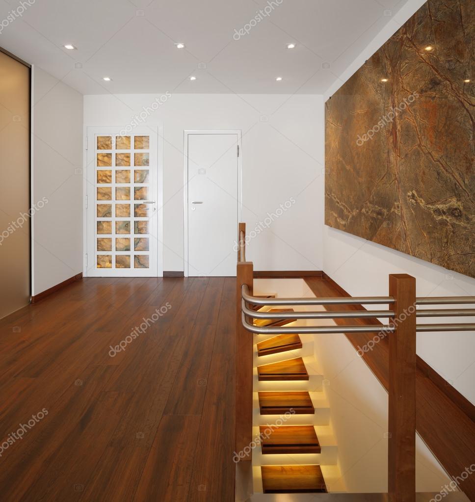 Casa moderna entrada con parquet y escalera de fuego fotos de stock zveiger 83686870 - Casa con parquet ...