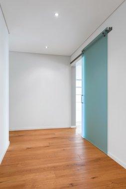 Hallway with glass door, modern home